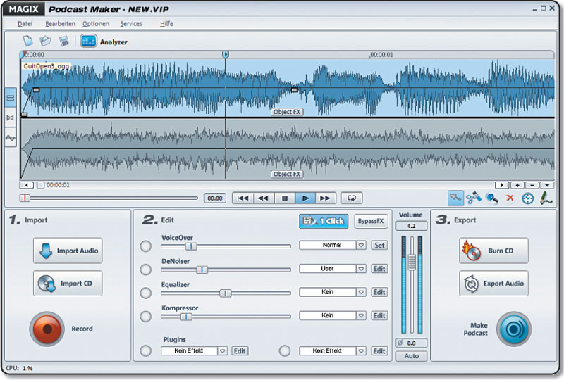 Screenshot vom Programm: MAGIX Podcast Maker