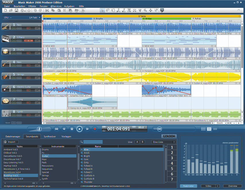 Screenshot vom Programm: MAGIX Music Maker Producer Edition