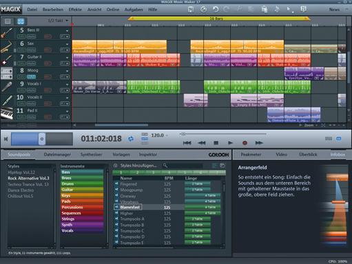 Screenshot vom Programm: MAGIX Music Maker