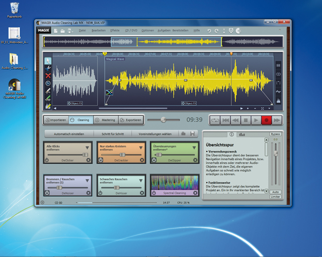 Screenshot vom Programm: MAGIX Audio Cleaning Lab