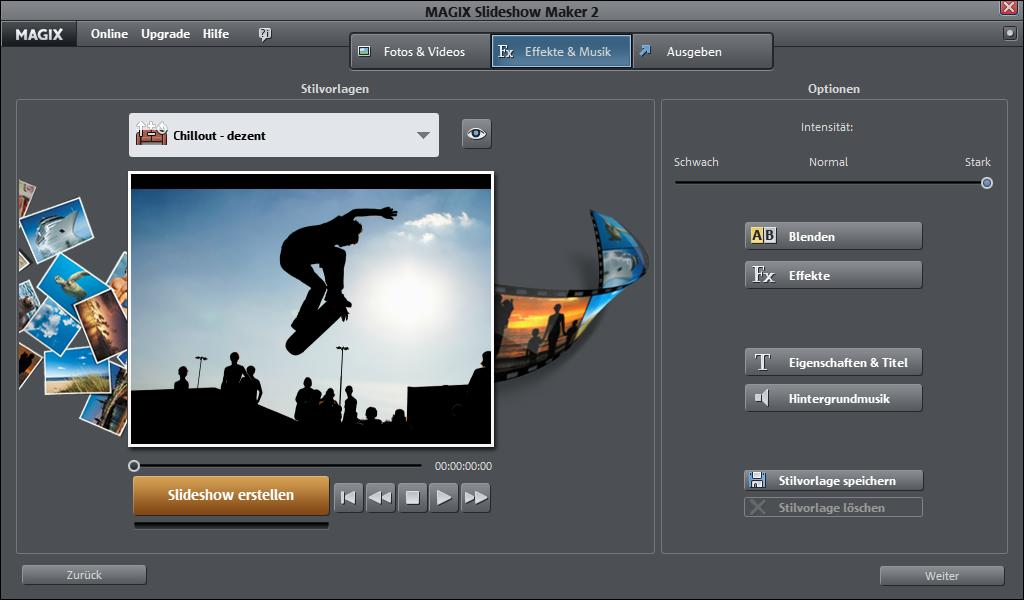 Screenshot vom Programm: MAGIX Slideshow Maker