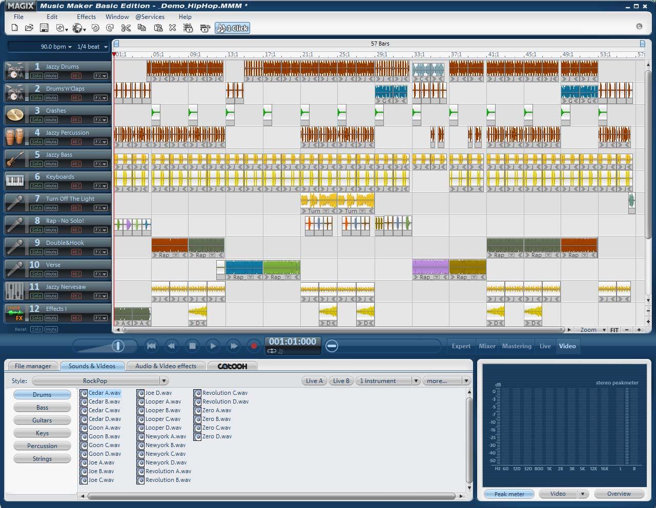 Simply arrange, remix, record, mixdown music!