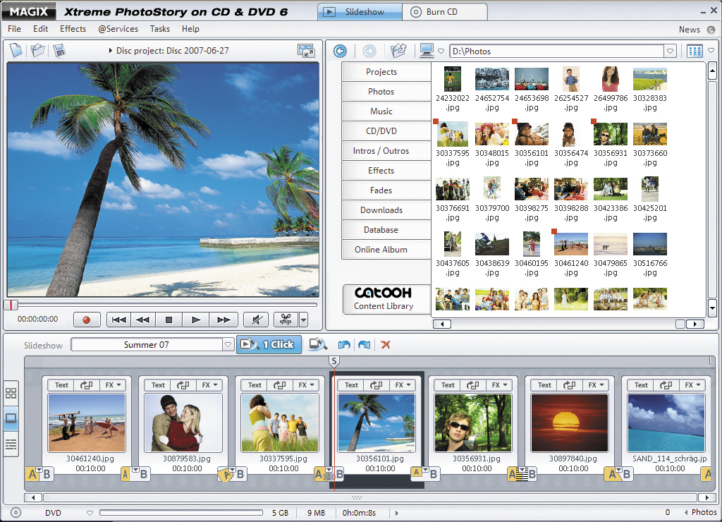 The most exciting way to experience your photos & videos on TV! With MAGIX Xtreme PhotoStory on CD & DVD 6 you become the director of your own cinematic slideshow!